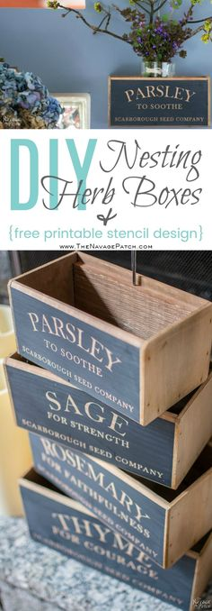 DIY nesting herb boxes | DIY wooden herb crates | Step-by-step hanging herb crate tutorial | Farmhouse style rustic decor | Free stencil | Free printable | Scarborough Fair | Scrap wood home decor | Stenciled home decor | How to stencil | Festive home decor | Cheap & easy crafts | Home decor on a budget | Simple woodworking | #diy #stenciled #rustic #crates | TheNavagePatch.com