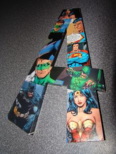 Mod Podge comic book images to wooden letters for unique wall art.