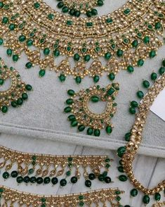 Antique Gold Green Indian Bridal Jewellery Set : Beautiful pieces on their way to our bride. In stock & ready to ship. Bridal Necklace Set, Bride Necklace, Fancy Jewellery, Fine Jewelry, Gold Jewelry, Indian Bridal Jewelry Sets, Bridal Jewellery, Grandmother Jewelry, Jewelry Tags