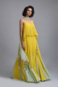 Citron yellow lehenga with net embroidered dupatta and scallop embroidered border. *This piece includes 3 - 4 inches of additional margin in the bodice/blouse to allow alterations up to - 2 dress Indian Attire, Indian Wear, Indian Designer Outfits, Designer Dresses, Indian Dresses, Indian Outfits, Lehenga Designs, Anarkali, Sharara