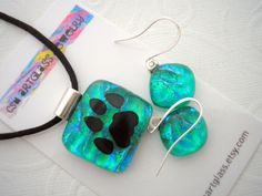 Blue Green Glass Earrings and Pendant Set   Cat's by csmartglass, $42.00