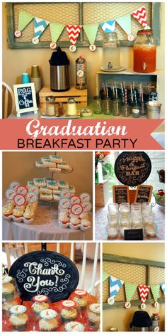 A delicious breakfast bar is set up for a Modern Graduation along with a fun photo booth!  See more party ideas at CatchMyParty.com!