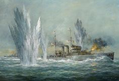HMS Exeter Engaging with The Graf Spee at The Battle Of The River Plate