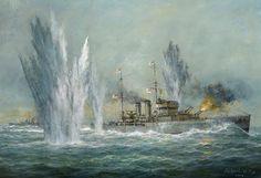 El HMS Exeter centrado por las salvas de 280 mm del Graf Spee al iniciarse el combate del Río de la Plata. Dibujo de Richard Willis.