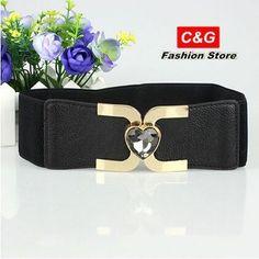 Hot sales new fashion peach heart crystal studded metal buckle elastic belt women's girdle YF-02