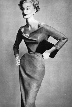"Model Sunny Barnett ca 1950s. Shes just as skinny as the models today. Look at thst waiat! Ill bet it measured no more than 22""!"
