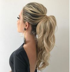 DIY Ponytail Ideas You're Totally Going to Want to 2019 Adorable Ponytails - DI. DIY Ponytail Ideas You're Totally Going to Want to 2019 Adorable Ponytails - DIY Ponytail Ideas You're Totally Going to Want to 2019 Adorable Ponytail Hairstyles; High Pony Hairstyle, Braided Hairstyles, Ponytail Hairstyles For Prom, Trendy Hairstyles, Bridesmaid Hair Ponytail, Wedding Ponytail Hairstyles, Summer Hairstyles, Long Haircuts, Hair Updos For Prom