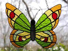 Butterfly - Schmetterling - Vlinder - from Delphi Artist Gallery by Dirkjan Modern Stained Glass, Stained Glass Suncatchers, Stained Glass Flowers, Stained Glass Projects, Stained Glass Patterns, Stained Glass Art, Sea Glass Art, Mosaic Glass, Glass Art Pictures
