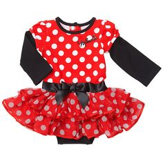 """Kendall's Halloween Costume - Disney Girls' Red/Black Long Sleeve Minnie Mouse Creeper with Tutu - Babies R Us - Babies """"R"""" Us"""