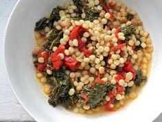 Late-Summer Roasted Tomato Soup w/ Fregola & Kale