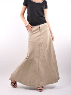 Golden Grace Long Khaki Skirt, Sizes 6-18: theskirtoutlet.com ...