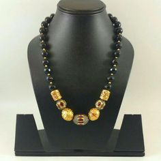 Black neck piece with meenakari beats Latest Jewellery, Bead Jewellery, Pearl Jewelry, Beaded Jewelry, Beaded Necklace, Silver Jewellery Indian, Indian Wedding Jewelry, Bridal Jewelry, Handmade Jewelry Designs