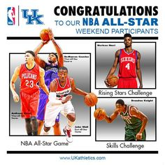 Five Wildcats to Participate in NBA All-Star Weekend.  Read more: http://www.ukathletics.com/sports/m-baskbl/spec-rel/021315aaa.html