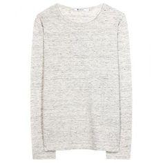 T by Alexander Wang - Classic long-sleeved linen top #top #alexanderwang #women #designer #covetme #tbyalexanderwang