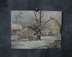 Vintage Paint by Number Winter Farm Home by PlaidOliversVintage
