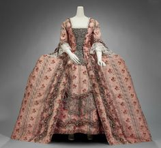 Formal Dress, French ca. 1770 Silk and metallic thread, trimmed with metallic lace and silk flowers