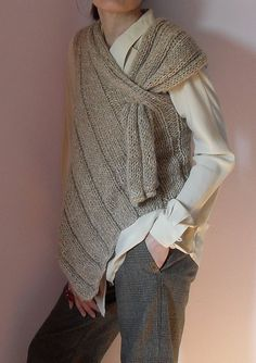 Asymmetric Long handknit vest pattern by Silvia66 on Etsy