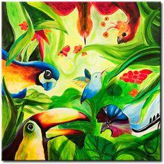 Obraz Rajski ogród - wspaniała dekoracja do pokoju dziecka #obrazy #recznie #malowane #tryptyki #dekoracje #ścienne #sztuka #malarstwo #wnętrza