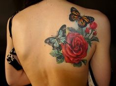 Rose and Butterfly Back Tattoos Design Ideas