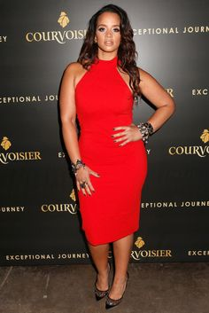 Dascha Polanco in red dress and sequin heels | celebrity style inspiration