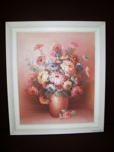 Vintage Oil Painting Still Life FLOWERS in Vase  signed framed  29 x 25 by LIZ404 on Etsy