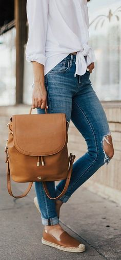 #summer #outfits White Tie Blouse + Destroyed Skinny Jeans + Brown Pumps