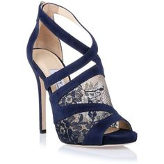 (2) Jimmy Choo Vantage navy lace sandal | Dreams - Future | Pinterest ❤ liked on Polyvore featuring shoes, sandals, jimmy choo sandals, navy sandals, jimmy choo shoes, navy blue lace shoes and navy blue shoes
