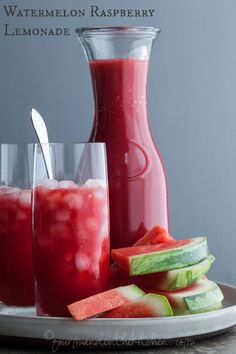 Hydrating watermelon and coconut water meet up with tangy lemons and tart raspberries in this refreshing and thirst-quenching watermelon, raspberry lemonade.