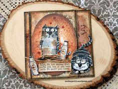 Tim Holtz Snarky Cat Framelit Release – Audrey Pettit Designs Crazy Bird, Crazy Dog, Crazy Cats, Crazy Animals, Tim Holtz Stamps, Tim Holtz Distress Ink, Cat Cards, Greeting Cards, Animal Cards
