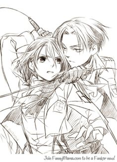 Levi and Mikasa - Attack on Titan / Shingeki no Kyojin-This looks a lot more like Petra than Mikasa