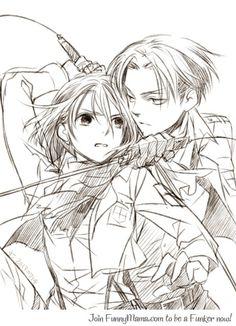 Levi and Mikasa - Attack on Titan / Shingeki no Kyojin-This looks a lot more like Petra than Mikasa