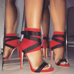 Red Buckle Zipper Stiletto Heel Sandals Ribbon straps color matching hollow high-heeled Roman shoes sandals tricolor - Just Lady Black High Heels, High Heels Stilettos, Stiletto Heels, Shoes Heels, Heeled Sandals, Sandals Outfit, Prom Heels, Strappy Sandals, Gladiator Sandals