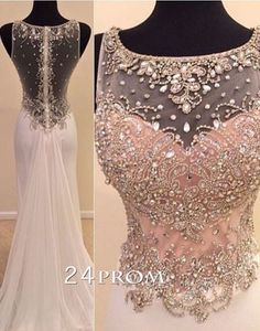 Charming round neckline A-line Chiffon Long Prom Dresses, Formal Dress – 24prom #prom #promdress #dress