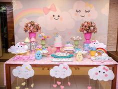 35 Creative Baby Shower Themes and Decor Ideas - Free Life Style Rainbow Birthday, Unicorn Birthday Parties, Unicorn Party, Baby Birthday, Baby Party, Baby Shower Parties, Baby Shower Themes, Baby Shower Decorations, Cloud Party