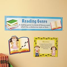 """""""These posters are a great addition to a classroom library. With a brief description of each genre, these cute posters aid students in identifying books within a classroom library."""" - Amy, Education Product Development Specialist for Oriental Trading Company Reading Genre Posters, Reading Genres, Reading Resources, Product Development, Cute Poster, Writing Styles, Inspiration For Kids, Trading Company, Oriental Trading"""