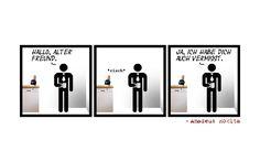 Comic No 0134 - Selbst eine lange Pause kann keine Freundschaft auseinander treiben. So wie bei Felix und Berd mit der Kaffeemaschine. Aber seht selbst.