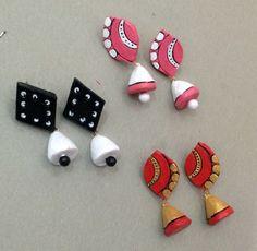 Terracotta studs Terracotta Jewellery Making, Terracotta Jewellery Designs, Terracotta Earrings, Funky Jewelry, Jewelry Crafts, Handmade Jewelry, Biscuit, Teracotta Jewellery, Doll House Crafts