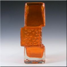 Whitefriars/Baxter Tangerine Glass Drunken Bricklayer Vase - £360.00