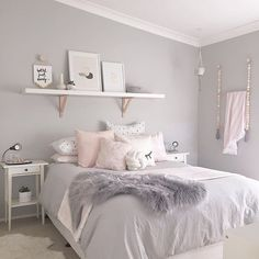 Teen bedroom inspo pale grey and pink colour scheme palette