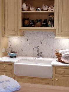 Marble Backsplash Farmhouse Sink