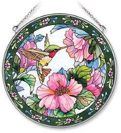 Amazon.com - Amia Handpainted Glass Hummingbird and Hibiscus Suncatcher, 6-1/2-Inch