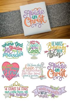 8 Biblical Christian sayings in word art! Biblical Sayings 1 design set available for instant download at designsbyjuju.com