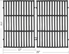 Hisencn 7524 19 5 Inches Cast Iron Cooking Grid Grates For Weber Genesis E 310 E 320 E 330 Genesis S 310 Cast Iron Cooking Outdoor Cooking Fireplace Grilling