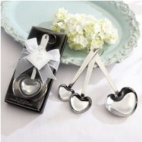 "Simply Elegant ""Love Beyond Measure"" Heart-Shaped Stainless-Steel Measuring Spoons http://favorcouture.theaspenshops.com/Simply-Elegant-Love-Beyond-Measure-Spoons.html #wedding #elegantfavors #simplyelegant"