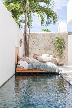 Villa Lane photoshoot by Bali Interiors Backyard Pool Designs, Small Backyard Pools, Small Pools, Swimming Pools Backyard, Swimming Pool Designs, Pool Landscaping, Narrow Backyard Ideas, Backyard Projects, Small Pool Design