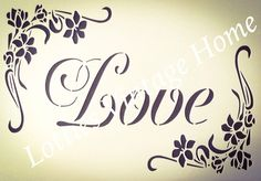 STENCIL A5 LOVE FLORAL ❤️ Furniture Fabric Arts  ❤️ Vintage Shabby Chic Makeover Floral Furniture, Vintage Shabby Chic, Fabric Art, Stencils, Letters, Love, Ebay, Words, Numbers