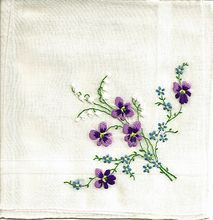 White on White Hankie with Embroidered Bouquet of Violets and Lily of the Valley