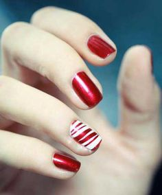 Candy cane stripes in ruby red.