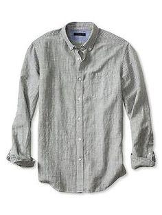 Slim-Fit Striped Linen/Cotton Shirt