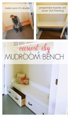 If you have three walls to work with, just frame up a bench with 2x4s right to the wall studs.  Cover in nicer painted boards and a painted plywood top.  Then add easy trundle drawers.  Super easy way to make a nice mudroom for cheap!